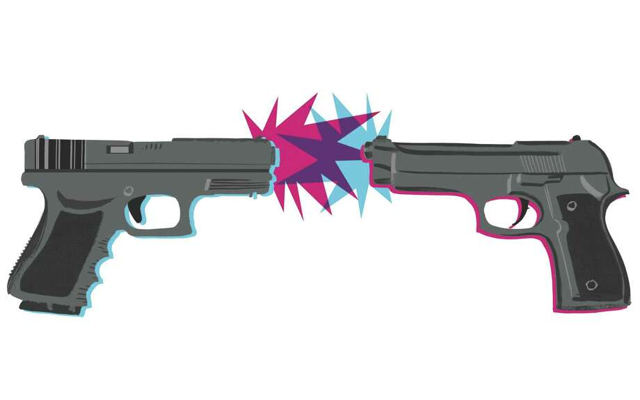 "illustration of two guns for the book ""Gun Guys"" by Dan Baum Photo: San Francisco Chronicle / ONLINE_YES"