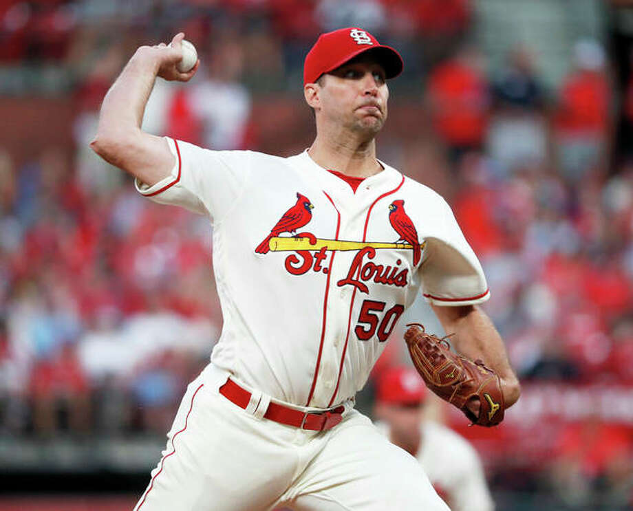 Cardinals starting pitcher Adam Wainwright throws during the fifth inning of the Cards' win over the Pirates on Saturday at Busch Stadium. Photo: Associated Press