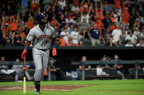 BALTIMORE, MD - AUGUST 10: Yordan Alvarez #44 of the Houston Astros watches as his grand slam leaves the park during the seventh inning against the Baltimore Orioles at Oriole Park at Camden Yards on August 10, 2019 in Baltimore, Maryland.
