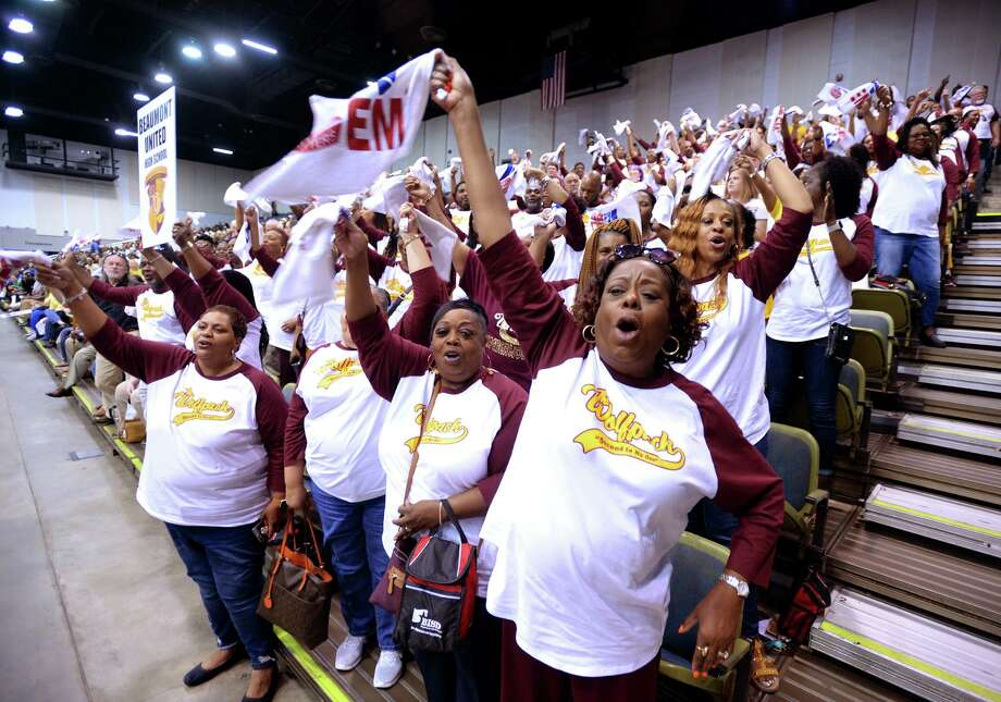 Beaumont United teachers cheer during BISD's Convocation on Friday. The event is designed to prepare teachers and staff for the new school year. BISD students returns to school on Wednesday. Photo taken Friday, 8/9/19 Photo: Guiseppe Barranco/The Enterprise, Photo Editor / Guiseppe Barranco ©