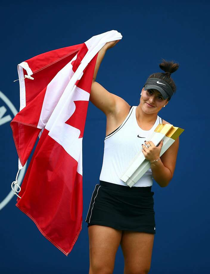TORONTO, ON - AUGUST 11:  Bianca Andreescu of Canada with the winners trophy following her victory over Serena Williams of the United States in the final match on Day 9 of the Rogers Cup at Aviva Centre on August 11, 2019 in Toronto, Canada. Williams withdrew from the match with a back injury.  (Photo by Vaughn Ridley/Getty Images) Photo: Vaughn Ridley, Getty Images
