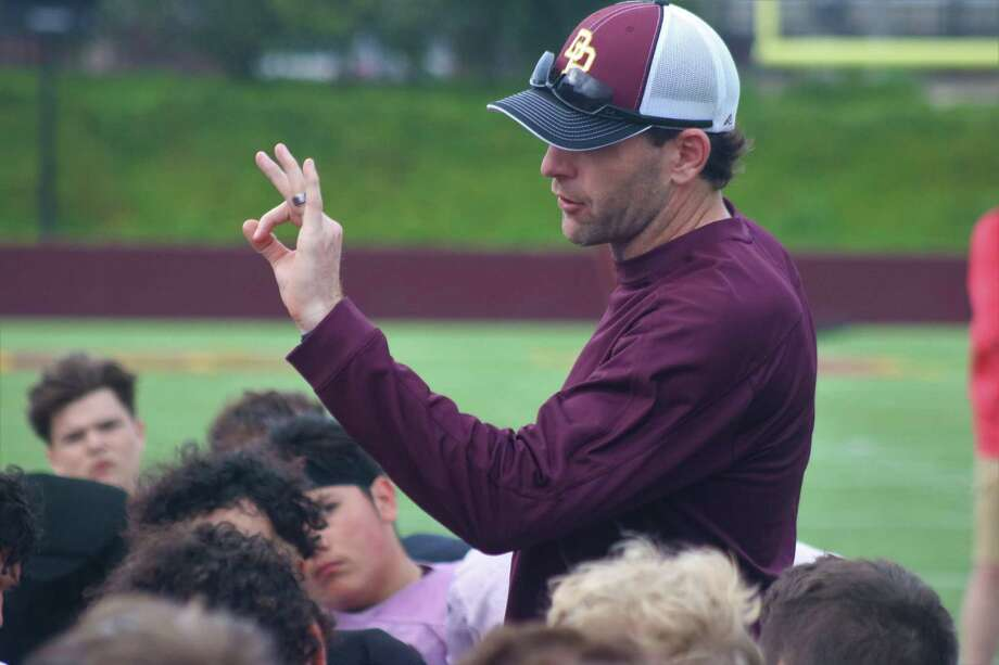 Head coach Austin Flynn welcomes his second team to fall workouts this week. In the space of less than three weeks, the team will go from first practice to kickoff against Port Arthur Memorial. Photo: Robert Avery