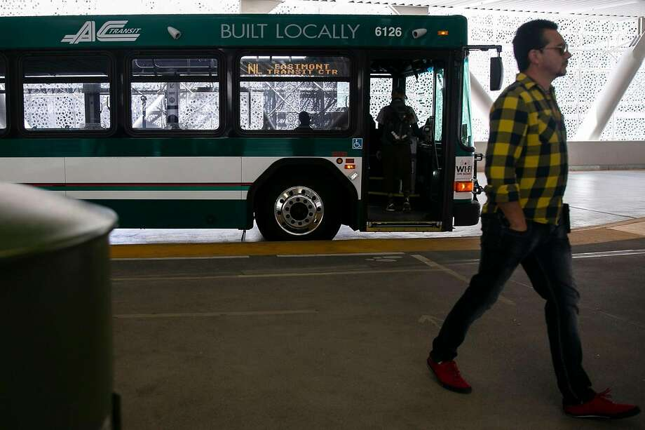 A commuter leaves an Alameda-Contra Costa Transit bus after it pulled into the Salesforce Transit Center on the first day AC Transit service returns to the reopened Salesforce Transit Center Sunday, Aug. 11, 2019, in San Francisco, Calif. Photo: Josie Norris / The Chronicle