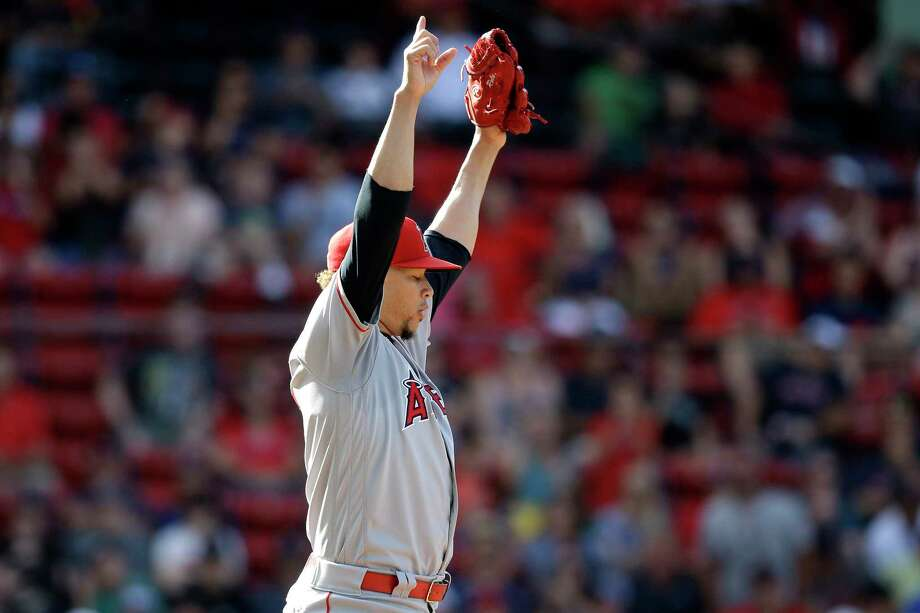 Los Angeles Angels' Hansel Robles celebrates striking out Boston Red Sox's Christian Vazquez to end the baseball game after 10 innings with a 5-4 win over the Red Sox, at Fenway Park, Sunday, Aug. 11, 2019, in Boston. (AP Photo/Steven Senne) Photo: Steven Senne / Copyright 2019 The Associated Press. All rights reserved