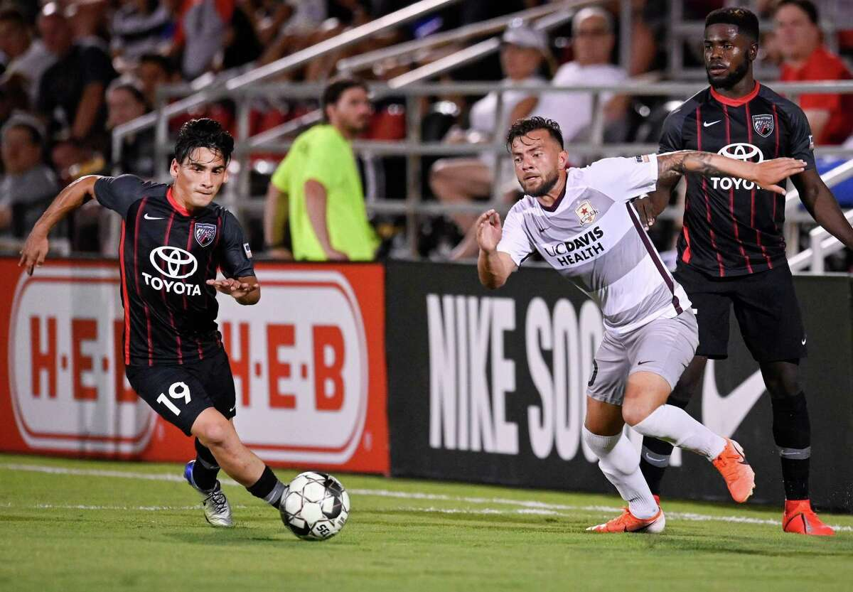 San Antonio FC midfielder Cristian Parano (19) scored two first-half goals, including the game-winner just before halftime, during Saturday's 4-1 win over Reno 1868 FC.