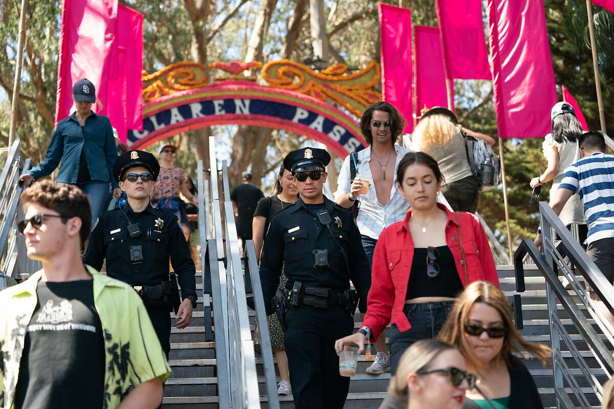 SFPD officers L. Tom and P. Chavarin patrol the Outside Lands festival on Sunday, Aug. 11, 2019, in San Francisco, CA.