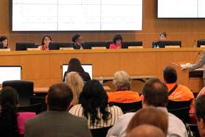 From left, Houston ISD Trustee Anne Sung, Trustee Elizabeth Santos, Interim Superintendent Grenita Lathan, Board President Diana Dávila, and Trustee Holly Maria Flynn Vilaseca are shown during an Aug. 8 school board meeting.