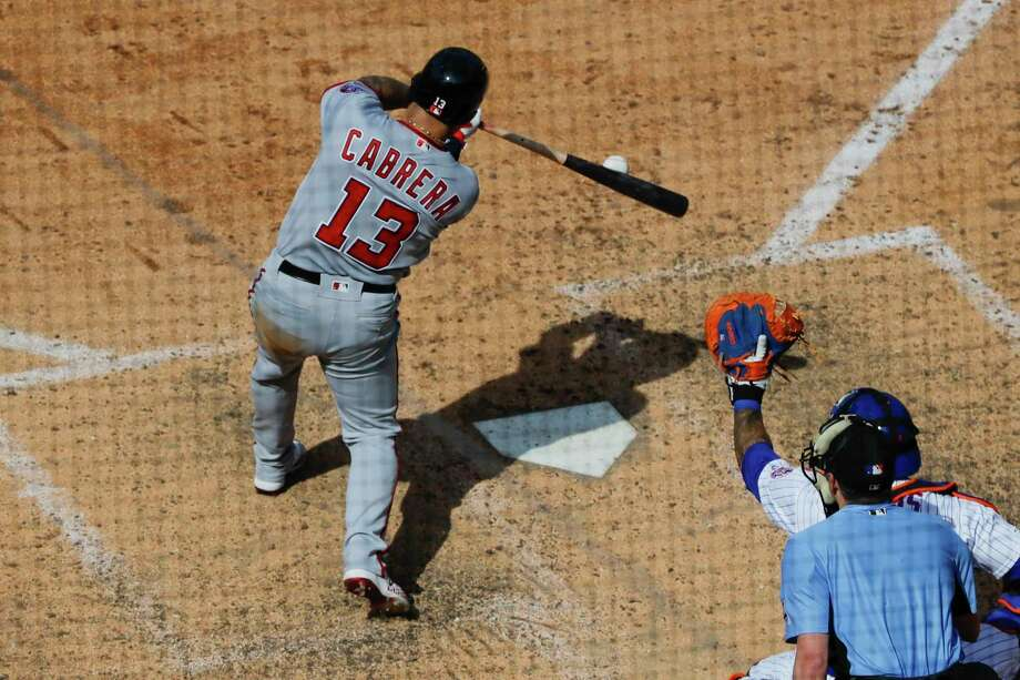 Washington Nationals' Asdrubal Cabrera (13) hits a two-run double during the seventh inning of a baseball game against the New York Mets, Sunday, Aug. 11, 2019, in New York. (AP Photo/Frank Franklin II) Photo: Frank Franklin II / Copyright 2019 The Associated Press. All rights reserved.