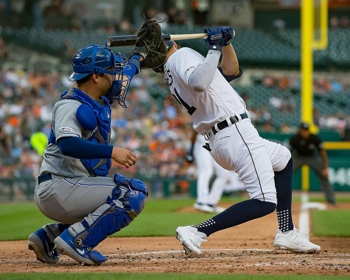 DETROIT, MI - AUGUST 08: JaCoby Jones #21 of the Detroit Tigers is hit by a pitch in the second inning against the Kansas City Royals during a MLB game at Comerica Park on August 8, 2019 in Detroit, Michigan. (Photo by Dave Reginek/Getty Images)