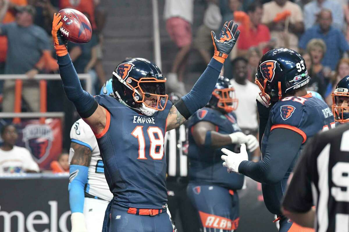 Albany Empire's Quentin Sims (18) celebrates a touchdown against thePhiladelphia Soul during the ArenaBowl XXXII football game at the Times Union Center, Sunday, Aug. 11, 2019, in Albany, N.Y.