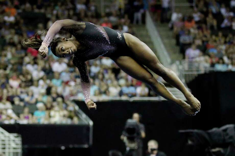 Simone Biles competes in the floor exercise during the senior women's competition at the 2019 U.S. Gymnastics Championships Sunday, Aug. 11, 2019, in Kansas City, Mo. (AP Photo/Charlie Riedel) Photo: Charlie Riedel, Associated Press / Copyright 2019 The Associated Press. All rights reserved.