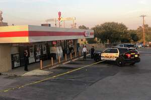 Police investigate a shooting Sunday evening near Jay's Way Food Mart in the 1900 block of Bandera Road on the West Side.
