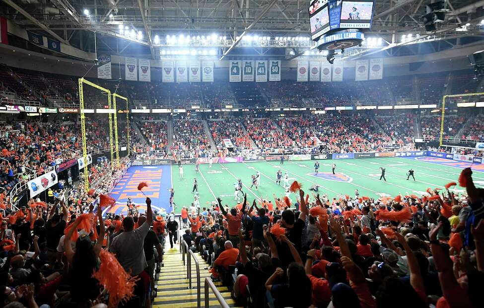 Fans react as the Albany Empire scores against the Philadelphia Souls during the ArenaBowl XXXII football game at the Times Union Center, Sunday, Aug. 11, 2019, in Albany, N.Y. (Hans Pennink / Special to the Times Union)