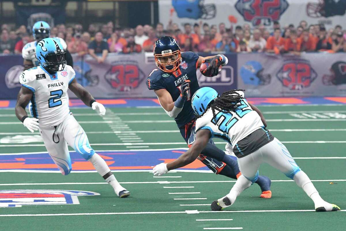 Malachi Jones (7), shown in a 2019 Arena Football League game, was injured in his return to the Albany Empire on Saturday night. (Hans Pennink / Special to the Times Union)