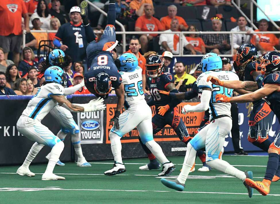Albany Empire's Terence Moore (8) is up-ended while recovering a onside kick against the Philadelphia Souls during the ArenaBowl XXXII football game at the Times Union Center, Sunday, Aug. 11, 2019, in Albany, N.Y. (Hans Pennink / Special to the Times Union)