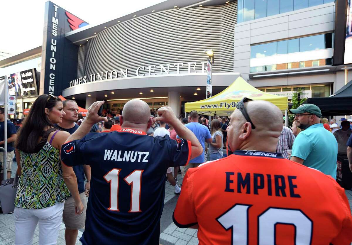 Fans wait for the start of ArenaBowl XXXII football game between the Albany Empire and Philadelphia Souls at the Times Union Center, Sunday, Aug. 11, 2019, in Albany, N.Y. (Hans Pennink / Special to the Times Union)