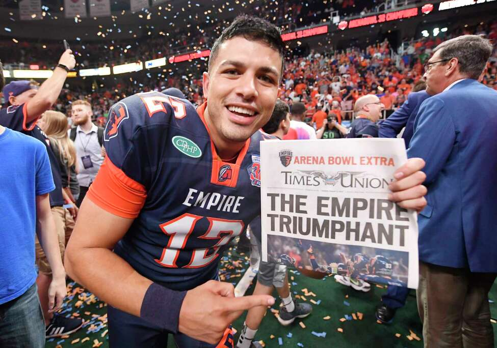 Albany Empire's Adrian Trevino celebrates after a 45-27 win against the Philadelphia Soul during the ArenaBowl XXXII football game at the Times Union Center, Sunday, Aug. 11, 2019, in Albany, N.Y. (Hans Pennink / Special to the Times Union)