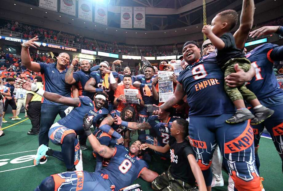Albany Empire players celebrates after a 45-27 win against the Philadelphia Soul during the ArenaBowl XXXII football game at the Times Union Center, Sunday, Aug. 11, 2019, in Albany, N.Y. (Hans Pennink / Special to the Times Union) Photo: Hans Pennink / Hans Pennink