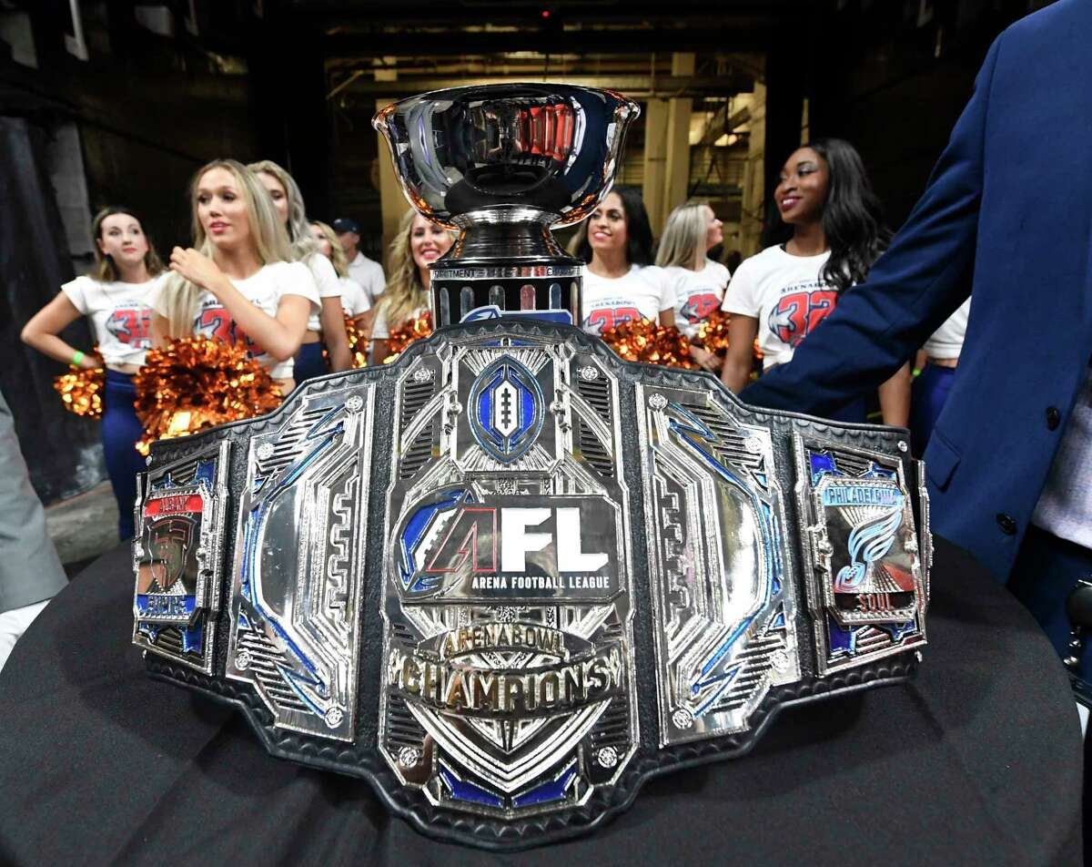 Trophy and belt before presintation to the Albany Empire players celebrates after a 45-27 win against the Philadelphia Soul during the ArenaBowl XXXII football game at the Times Union Center, Sunday, Aug. 11, 2019, in Albany, N.Y. (Hans Pennink / Special to the Times Union)