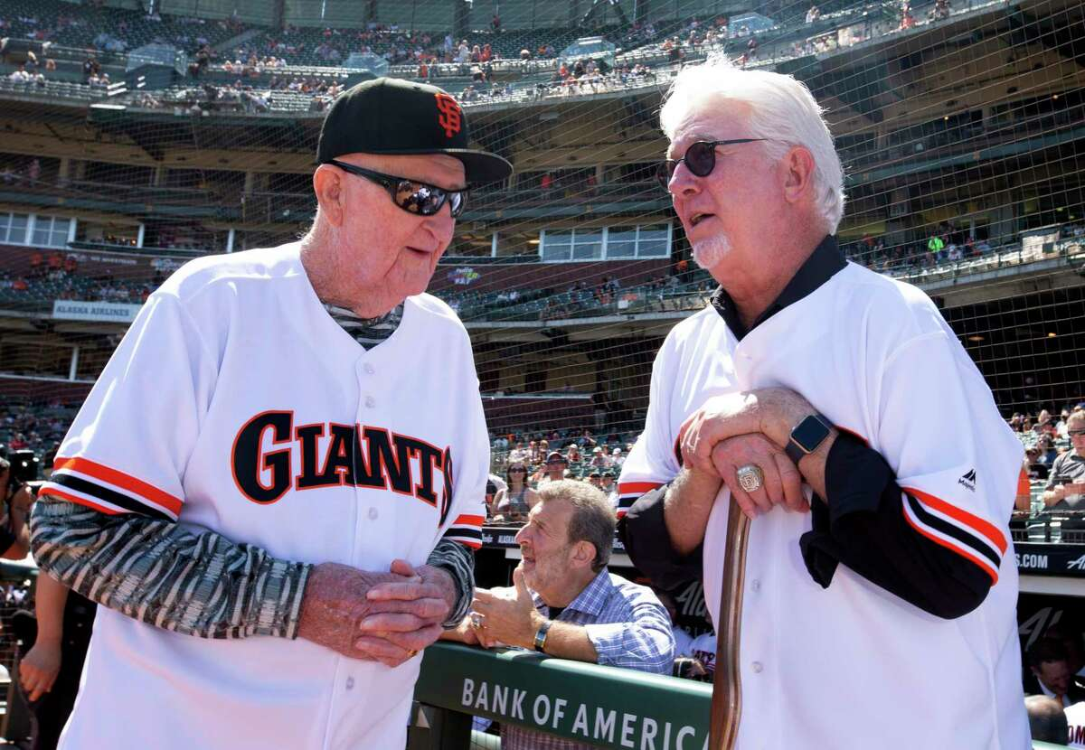 Former manager Roger Craig and pitcher Mike Krukow reminisce during a pregame ceremony honoring the San Francisco Giants 1989 pennant winning team on Sunday, Aug. 11, 2019 in San Francisco, Calif.