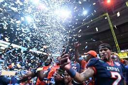 Albany Empire players celebrates after a 45-27 win against the Philadelphia Soul during the ArenaBowl XXXII football game at the Times Union Center, Sunday, Aug. 11, 2019, in Albany, N.Y. (Hans Pennink / Special to the Times Union)