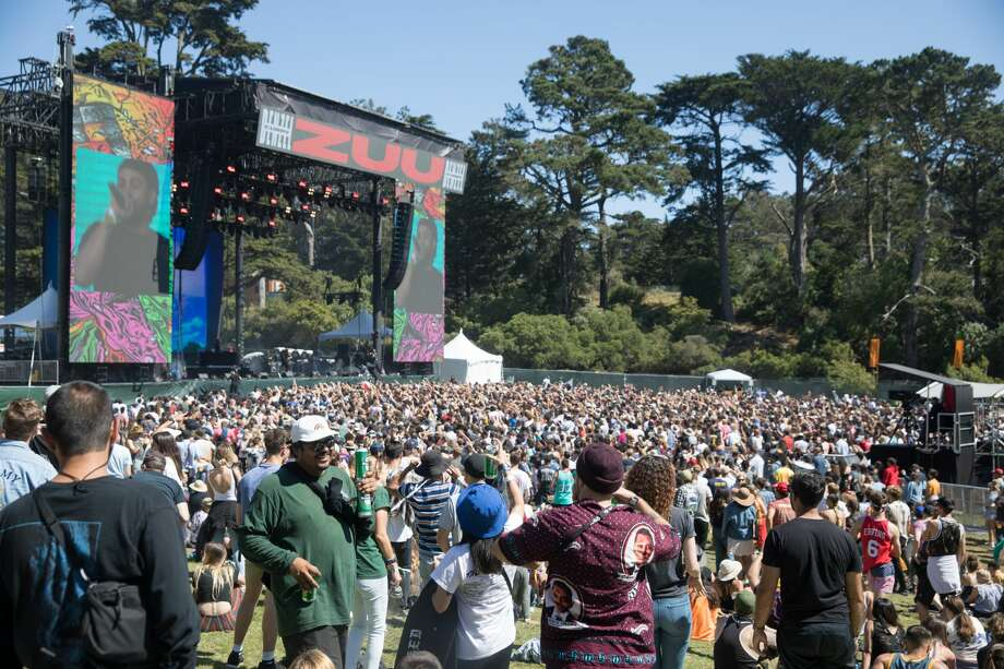 Crowds take in Denzel Curry's set at Twin Peaks during the 2019 Outside Lands in Golden Gate Park in San Francisco, Calif. on August 11, 2019. Photo: Douglas Zimmerman/SFGate.com