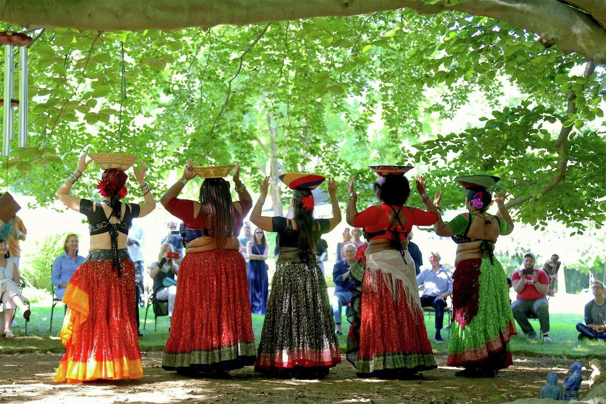 The Delphi Dance ensemble perform tribal fusion dance at the 8th Annual Beechwood Open on Sunday, Aug. 11, 2019, in Westport, Conn.