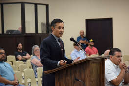 Plainview ISD Superintendent H.T. Sanchez presents a proposal for a $76.6 million bond to school board members during a special meeting Thursday night.