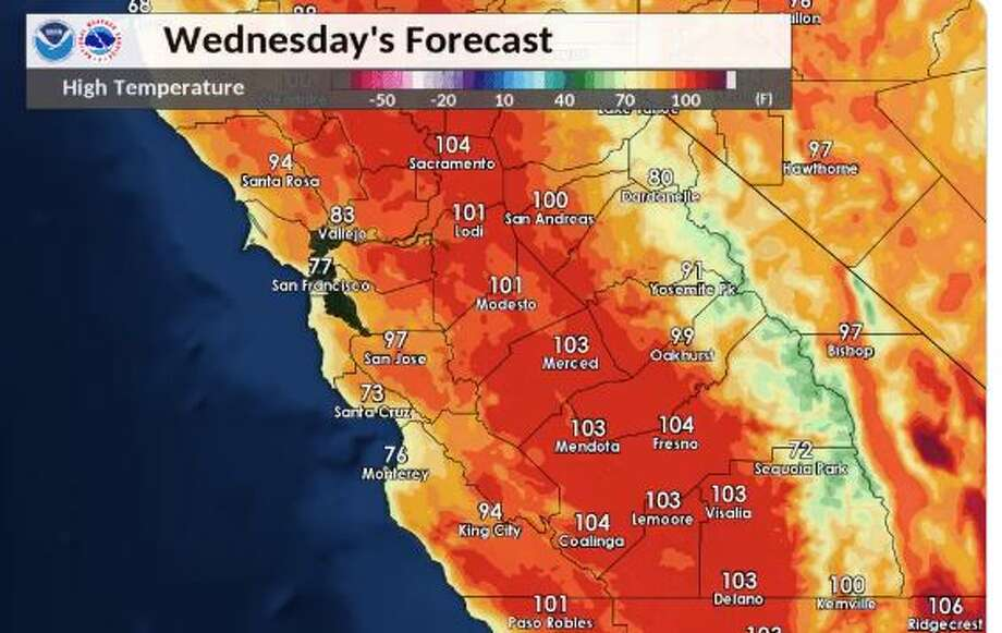 Warmer temperatures are expected this week, with parts of the Bay Area nearing 100 degrees by Wednesday afternoon. Photo: NWS Bay Area