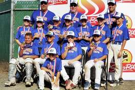 Leading the Milford Gators to gold were (front row) Pauly Martin; (second row) Matt Martin, Nick Idone, Kyle Daniels and Kevin Cepetelli; (third row) Tyler McTigue, Logan Thomas, Kenny Esposito, Owen Trice, Peyton Pettey, Jack Marschner and Danny Asermely; and (fourth row) coaches Anthony Idone, Dan Martin and Andy Trice.
