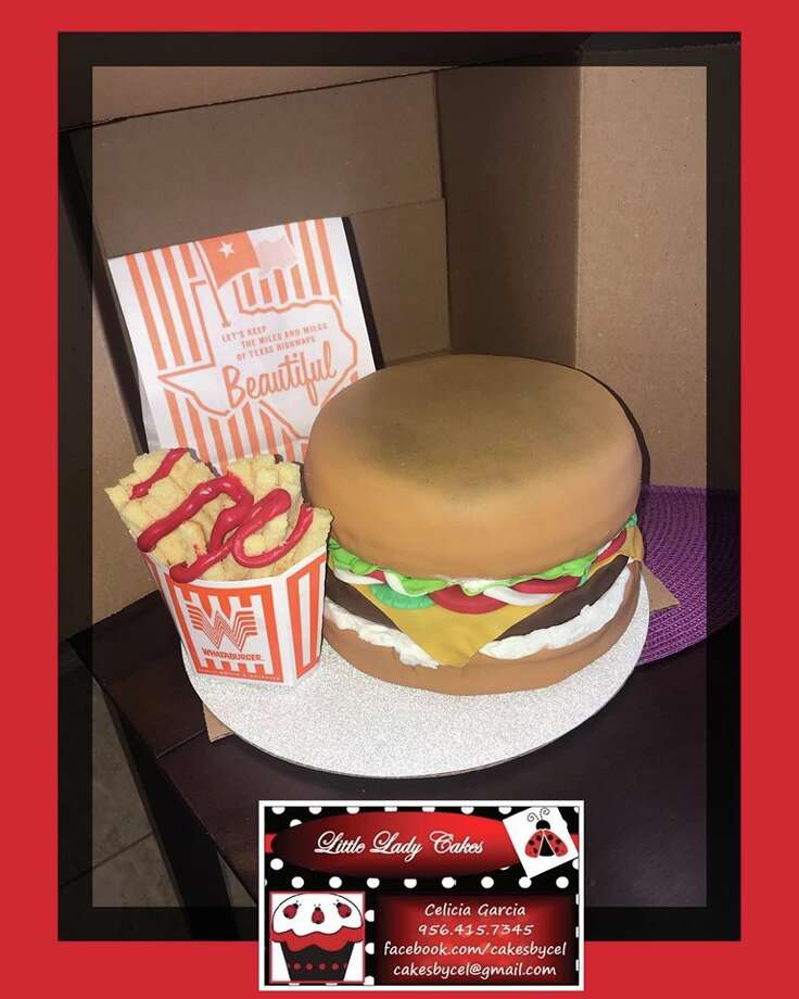 "The trend of incorporating the Texas favorite into custom confections can add another cake artist to the mix. Celicia Garcia, who owns Little Lady Cakes, baked and decorated a burger order, complete with toasted buns and fries right out the bag, for a customer who wanted to help her ""Whataburger-loving-husband"" blow out his candles in a special way. Photo: Courtesy,  Celicia Garcia"