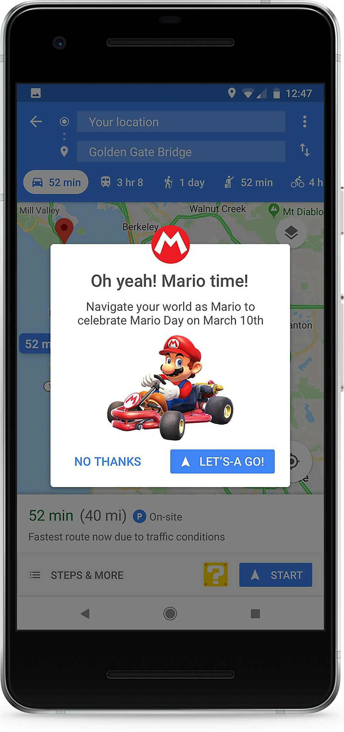 In an image provided by Google, the best-known Easter egg, for Google Maps, appeared on March 10, 2018, as in International Mario Day, (Mar10, get it?), celebrating the goofy Italian plumber from Nintendo�s video games. (Google via The New York Times) -- NO SALES; FOR EDITORIAL USE ONLY WITH NYT STORY SOFTWARE SURPRISES ADV11 BY DAVID POGUE FOR AUG. 09, 2019. ALL OTHER USE PROHIBITED. --