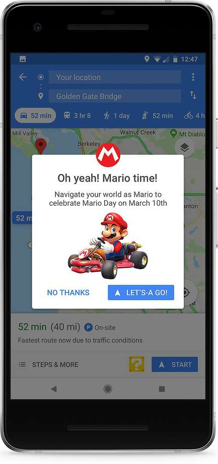 The best-known Easter egg for Google Maps appeared March 10, 2018, International Mario Day. Photo: Google