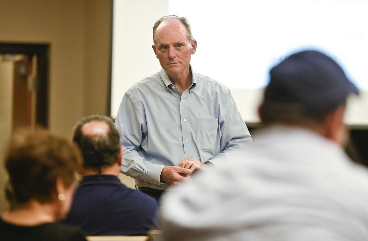 In this file photo, State Rep. Tracy King listens to the concerns the homeowners of La Bota Ranch have with rising fees and explains legislative options on Tuesday, Oct. 30, 2018, at the Fasken Community Center.