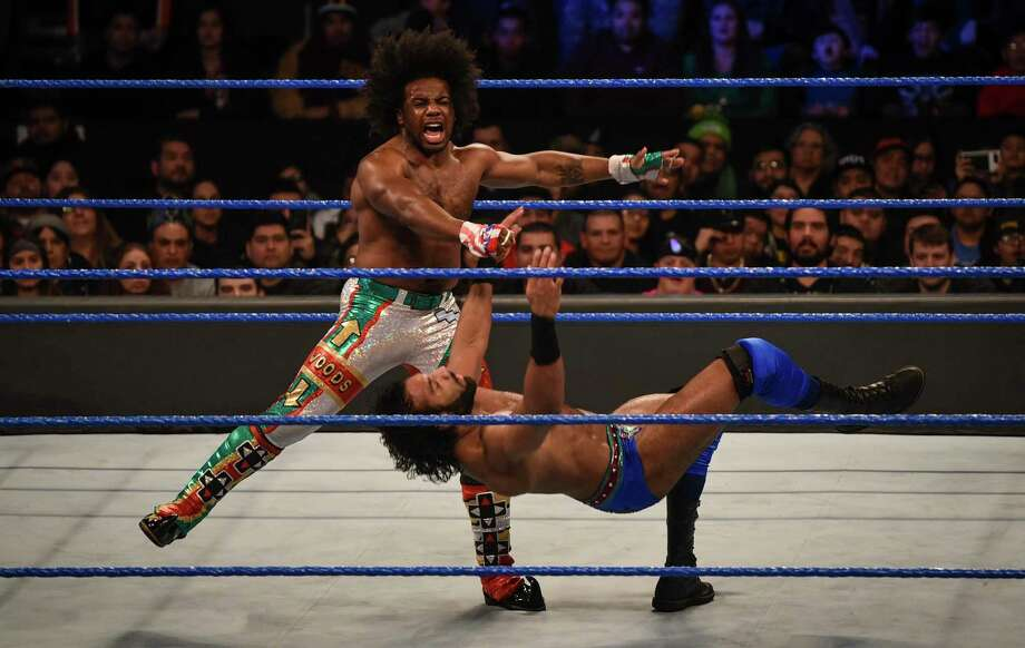 Xavier Woods and Jinder Mahal participate in a WWE Smackdown wrestling match on Jan. 16, 2018, at the Laredo Energy Arena in Laredo, Texas. Starting Oct. 4, 2019, SmackDown will be aired on Fox's broadcast channel. Photo: Danny Zaragoza / Laredo Morning Times