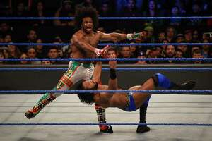 Xavier Woods and Jinder Mahal participate in a WWE Smackdown wrestling match on Jan. 16, 2018, at the Laredo Energy Arena in Laredo, Texas. Starting Oct. 4, 2019, SmackDown will be aired on Fox's broadcast channel.