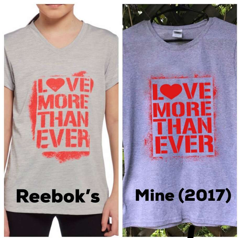 "A side-by-side of Reebok's ""Love More Than Ever"" shirt and the Norwalk artist 5iveFingaz's earlier design. The artist is claiming that Reebok and Dick's Sporting Goods, the distributor of the shirt, are infringing on his intellectual property rights and has filed a lawsuit. Photo: Contributed Photo / Norwalk Hour Contributed"