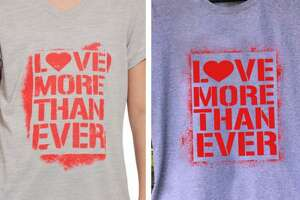 """A side-by-side of Reebok's """"Love More Than Ever"""" shirt and the Norwalk artist 5iveFingaz's earlier design. The artist is claiming that Reebok and Dick's Sporting Goods, the distributor of the shirt, are infringing on his intellectual property rights and has filed a lawsuit."""