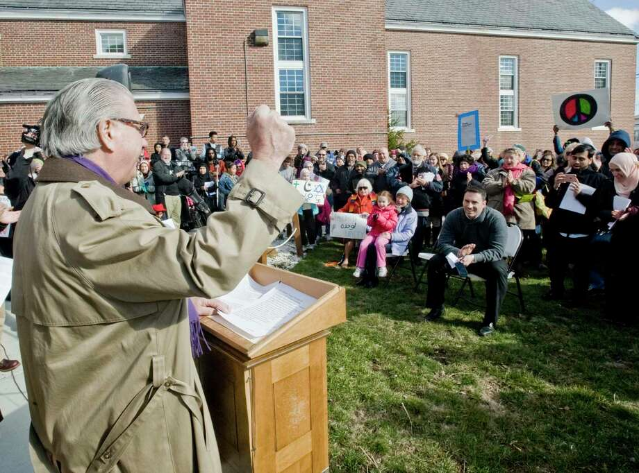 Joe Walkovich, President of the Association of Religious Communities, speaks to the gathering during the Central Christian Church Humanity Rally in Danbury. Sunday, Feb. 26, 2017 Photo: Scott Mullin / For Hearst Connecticut Media / The News-Times Freelance