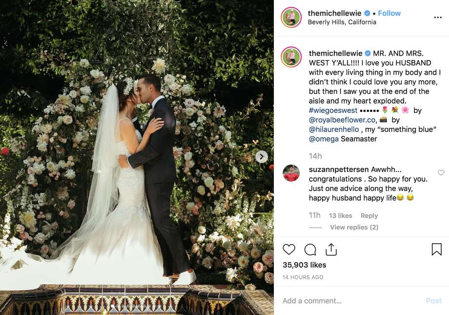Michelle Wie and Jonnie West married in Beverly Hills on Aug. 10, 2019. Photo: Screenshot Via Instagram