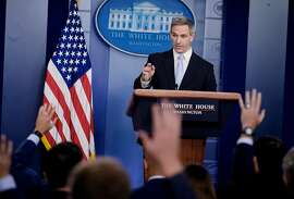 Kenneth Cuccinelli, acting Director of the Citizenship and Immigration Services, speaks to reporters at the White House in Washington, on Monday, Aug. 13, 2019. The Trump administration announced that it will penalize legal immigrants who rely on public programs, such as food stamps and government-subsidized housing, as part of a sweeping new policy to slow legal immigration into the U.S. and reduce the number of immigrants who are granted permanent legal status. (T.J. Kirkpatrick/The New York Times)