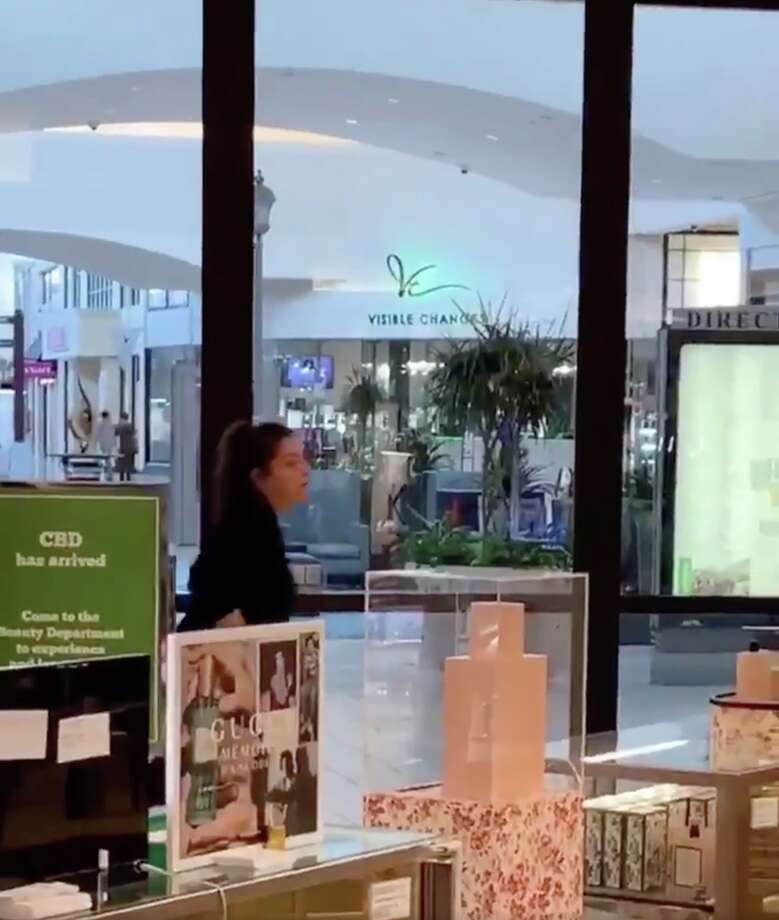 A screengrab from video taken inside Memorial City Mall moments after a man caused a disturbance in the food court, prompting a panic Sunday, Aug. 11, 2019. Photo: Twitter / @_realblee