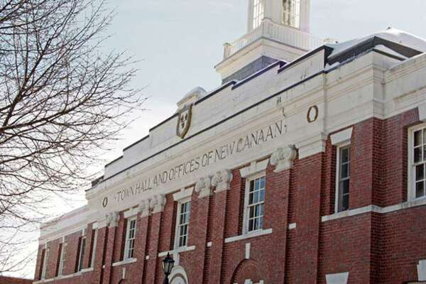 The top of the front of New Canaan Town Hall in New Canaan, Connecticut. Contributed photo