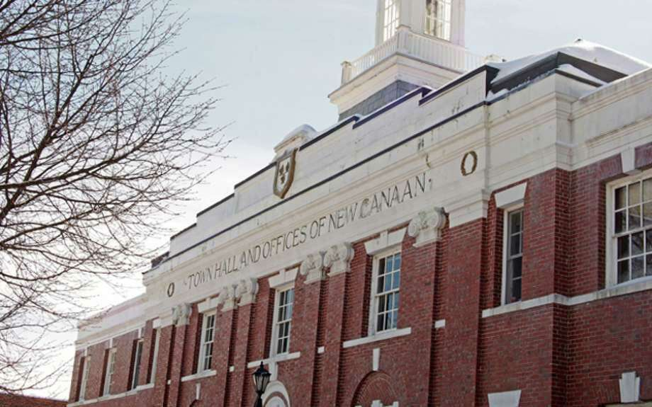 The top of the front of New Canaan Town Hall in New Canaan, Connecticut. Photo: Contributed Photo