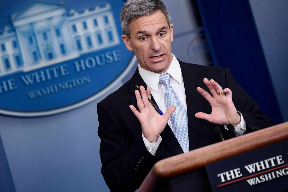 Acting Director of the US Citizenship and Immigration Services Ken Cuccinelli speaks during a briefing at the White House on Monday. Officers from the agency will weigh public assistance along with other factors in determining whether to grant legal status to those seeking green cards. Photo: Brendan Smialowski / AFP / Getty Images