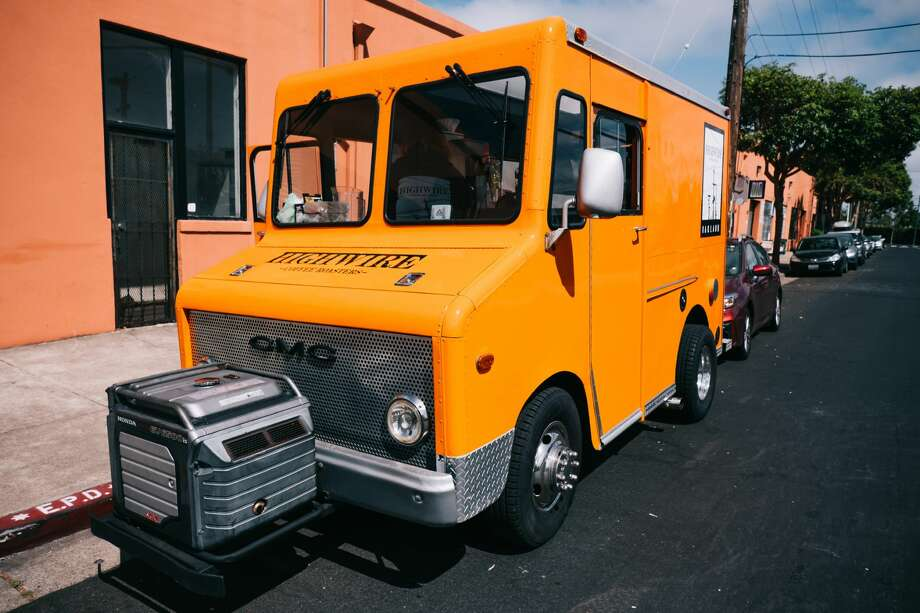 Highwire Coffee Roasters converted an old Chronicle newspaper delivery truck from around the 1980s into a coffee truck. Photo: Highwire Coffee Roasters