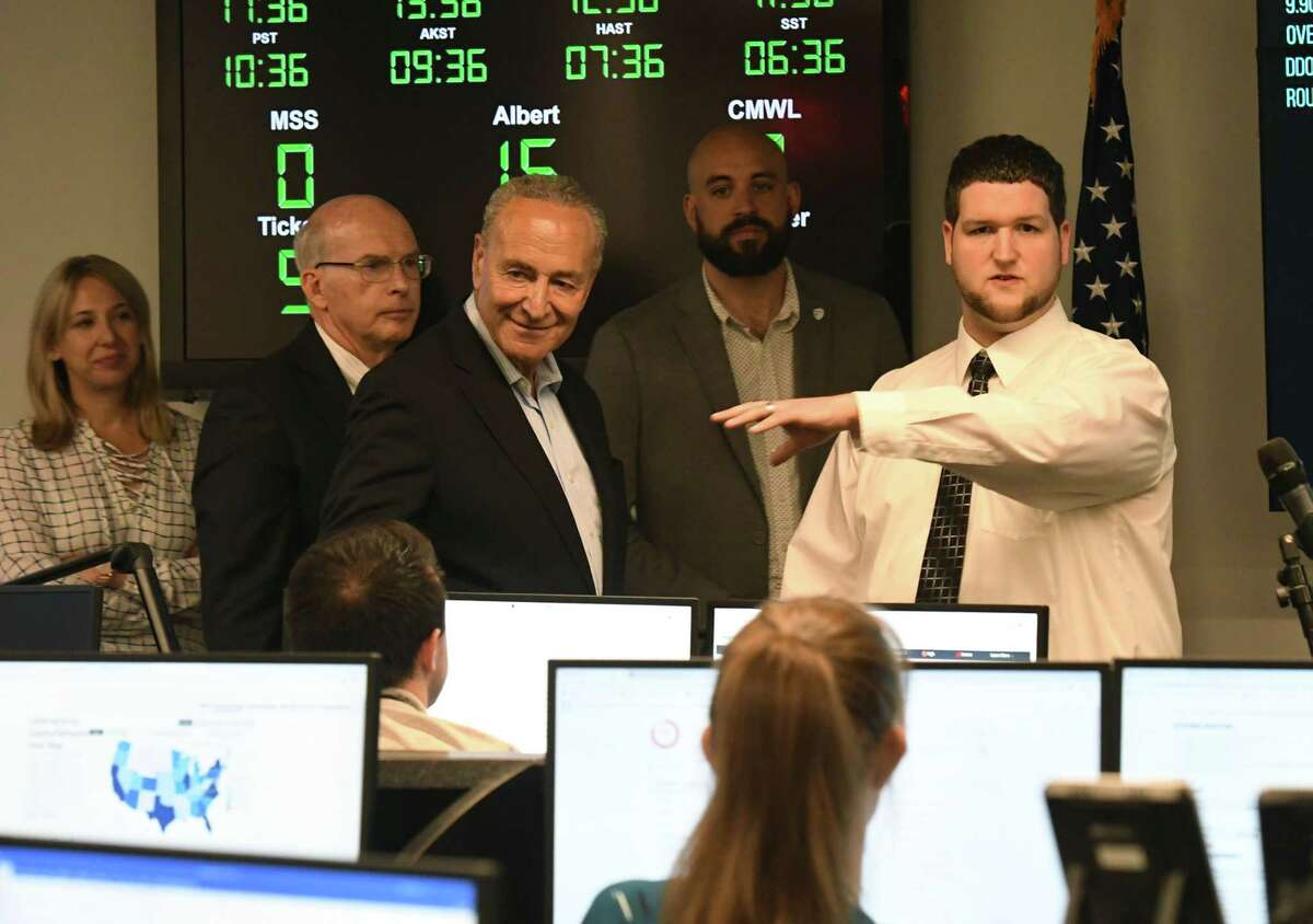 U.S. Sen. Charles Schumer takes a tour of the Center for Internet Security on Monday, Aug. 12, 2019, in East Greenbush, N.Y. Sen. Schumer is urging Congress to vote on and pass the Election Security Act, introduced by Senator Amy Klobuchar (D-MN) and cosponsored by him. The measure would defend American elections from foreign interference and establish a $1 billion federal grant program to fortify local election systems. (Will Waldron/Times Union)