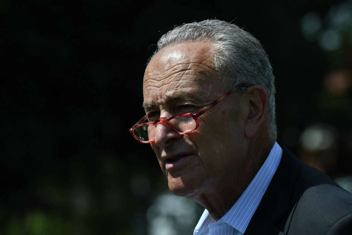 U.S. Sen. Charles Schumer speaks after taking a tour of the Center for Internet Security on Monday, Aug. 12, 2019, in East Greenbush, N.Y. Sen. Schumer is urging Congress to vote on and pass the Election Security Act, introduced by Senator Amy Klobuchar (D-MN) and cosponsored by him. The measure would defend American elections from foreign interference and establish a $1 billion federal grant program to fortify local election systems. (Will Waldron/Times Union)
