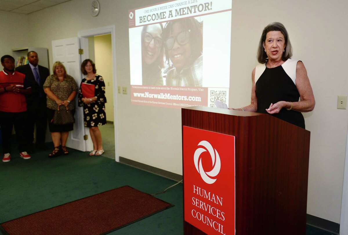 Dr. Susan Weinberger, founder of the Norwalk Mentor Program,The Human Services Council holds a press conference in an effort to raise awareness of the Norwalk Mentor Program and recruit at least 100 new mentors Wednesday, August 7, 2019, at their offices lat One Park Street in Norwalk, Conn. The event showcased some of the HSC mentor/mentee success stories and offer attendees the opportunity to help grow the Norwalk Mentor Program and provide more Norwalk students with an adult mentor.