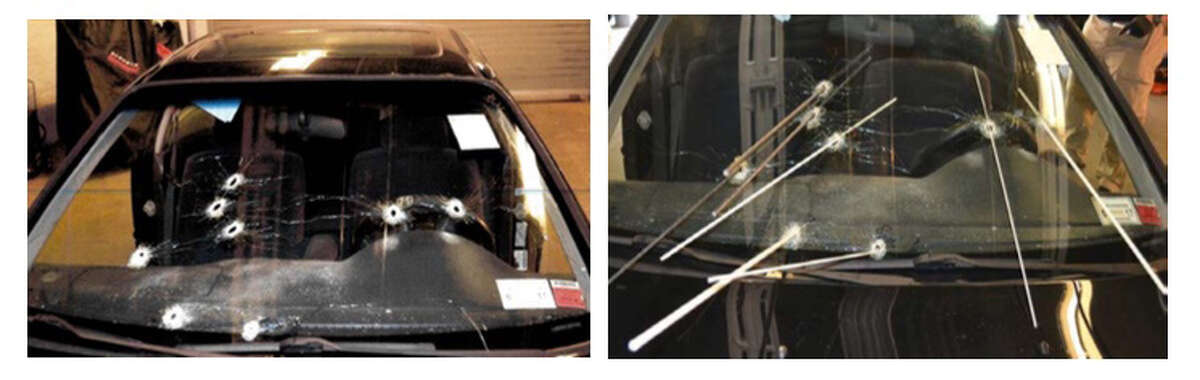 An internal affairs report concluded Sgt. Randall French jumped out of his cruiser and fired two shots through Edson Thevenin's windshield before the unarmed driver's vehicle lurched forward and pinned the officer's legs. French then fired six more rounds through the windshield. Above: Images from the state attorney general's report show the trajectories.